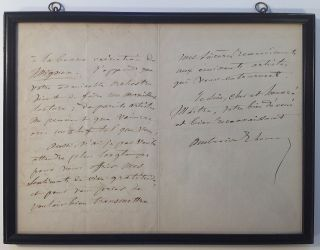 Framed Autographed Letter Signed in French