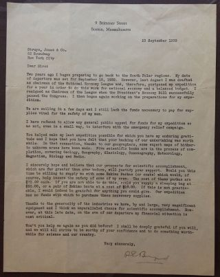 Framed Typed Letter Signed about an expedition to the South Polar region