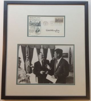Framed signed commemorative envelope. Hubert H. HUMPHREY, 1911 - 1978