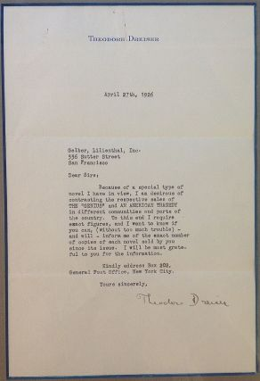 Framed Typed Letter Signed to his Publisher