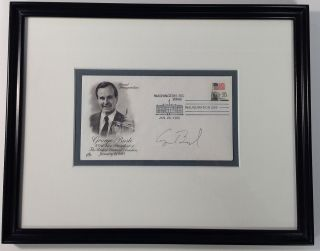 Framed signed envelope commemorating Inauguration Day. George H. W. BUSH, 1924