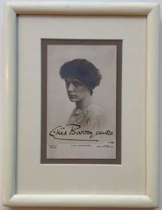 Framed Signed Photo-postcard. Ethel BARRYMORE, 1879 - 1959.