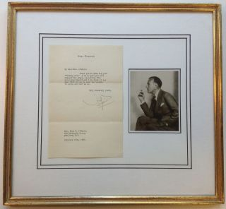 Framed Typed Letter Signed on personal stationery. Noel COWARD, 1899 - 1973