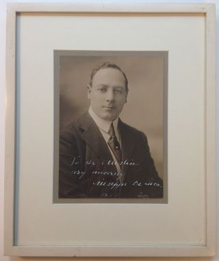 Framed Inscribed Photograph. Giuseppe DE LUCA, 1876 - 1950
