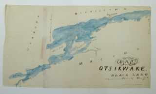 Map of Otsikwake or Black Lake, St. Lawrence County New York. H. L. HAZLETON, Manuscript map