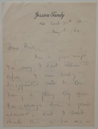 "Autographed Letter Signed ""Jess"" on personal stationery. Jessica TANDY, 1909 - 1994"