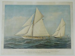 "Vigilant and Valkyrie In A ""Thrash To Windward."" In Their International Race For ""The America's Cup"" Oct. 7th 9th & 13th 1893"