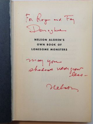 Nelson Algren's own book of Lonesome Monsters. Nelson ALGREN.