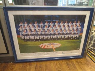 Limited Edition Poster signed by 33 players and coaches. 1961 NEW YORK YANKEES