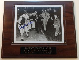 Signed Photograph mounted to a plaque. Johnny VANDER MEER, 1914 - 1997