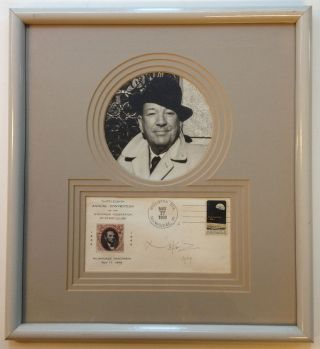 Framed Signed Envelope commemorating stamp collecting. Noel COWARD, 1899 - 1973