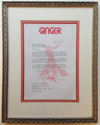 Framed Typed Letter Signed on personal stationery. Ginger ROGERS, 1911 - 1995