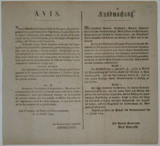 Napoleonic Wars Military Broadside. The Governor-General ANDREOSSY.