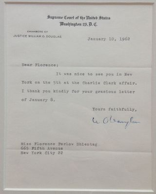 Framed Typed Letter Signed on Supreme Court letterhead. William O. DOUGLAS, 1898 - 1980