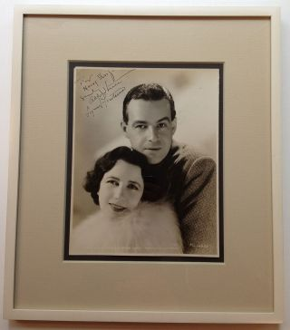 Framed Inscribed Vintage Photograph. Alfred LUNT, Lynn FONTAINE