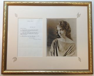Framed Typed Letter Signed on personal stationery. Lillian GISH, 1893 - 1993
