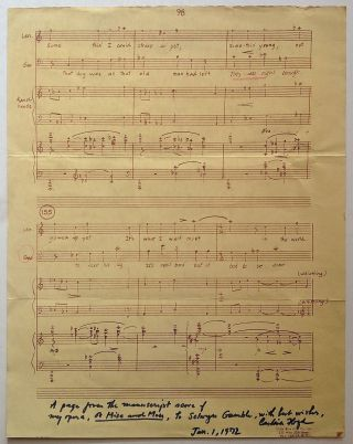 "Inscribed Sheet Music from ""Of Mice and Men"" Carlisle FLOYD, 1926 -."