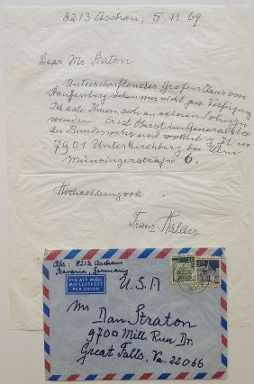 Autographed Letter Signed in German. Franz HALDER, 1884 - 1972