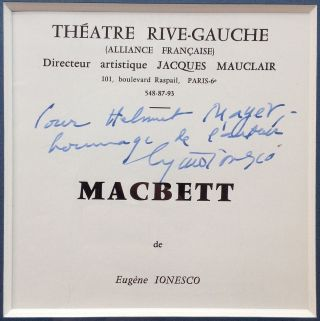 Framed Theatre Program Inscribed in French. Eugene IONESCO, 1909 - 1994