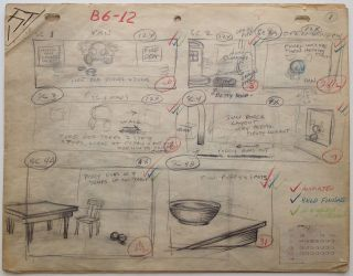 "Original Illustrated Storyboards from ""Ding Dong Doggie"" FLEISCHER ANIMATION STUDIOS."