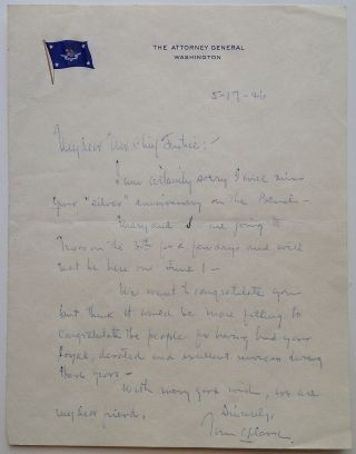 "Autographed Letter Signed on ""Attorney General"" letterhead. Tom C. CLARK, 1889 - 1977."