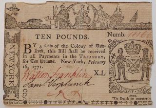 Authentic Colony of New York Ten Pounds note. COLONIAL NEW YORK.