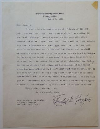 Typed Letter Signed on Supreme Court letterhead. Charles Evans HUGHES, 1862 - 1948.