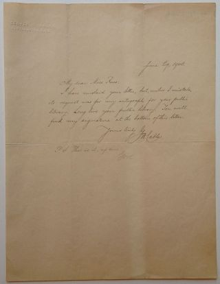 Autographed Letter Signed on personal embossed letterhead. George Washington CABLE, 1844 - 1925