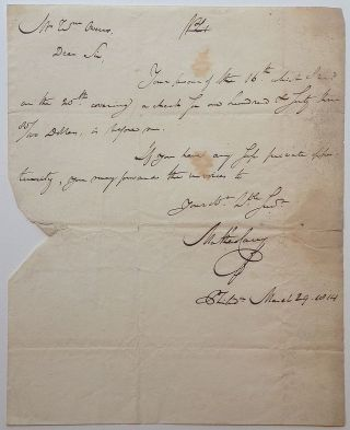 Autographed Letter Signed. Mathew CAREY, 1760 - 1839.