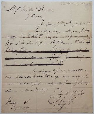 "Draft Autographed Letter Signed ""M. Carey & Son"" Mathew CAREY, 1760 - 1839."