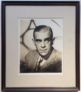 Framed Inscribed Vintage Photograph. Boris KARLOFF, 1887 - 1969.