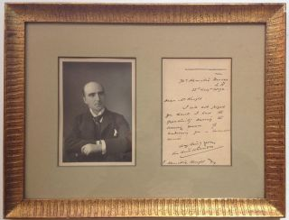 Framed Autographed Letter Signed on personal stationery. Arthur PINERO, 1855 - 1934