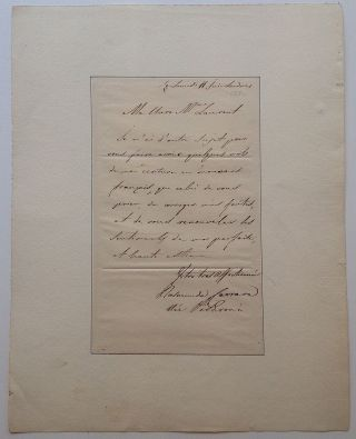 Autographed Letter Signed in French. Rosmanda PISARONI, 1793 - 1872