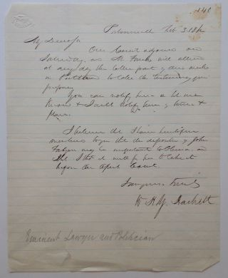 War-date Autographed Letter Signed. William Henry Young HACKETT, 1800 - 1878