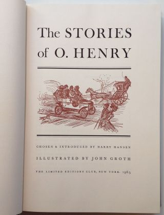 Full-page original drawing in a Limited Editions book of O. Henry stories
