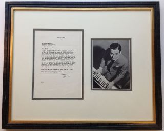 Framed Typed Letter Signed to a producer at Paramount Pictures. Irving BERLIN, 1888 - 1989