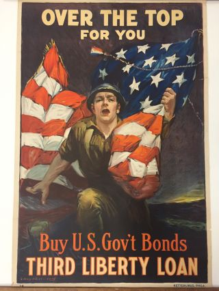 Over the Top for You; Buy U.S. Gov't Bonds, Third Liberty Loan. Sidney H. RIESENBERG.