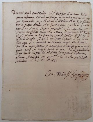 Rare Autographed Letter Signed in Italian. Alessandro FARNESE, 1520 - 1589, Cardinal