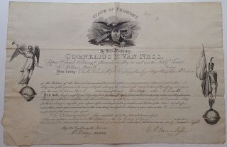Partly-printed Document Signed. Cornelius P. VAN NESS, 1782 - 1857