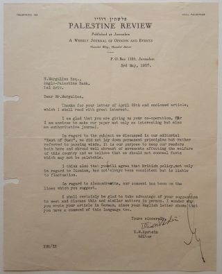 "Exceedingly Rare and Important Typed Letter Signed as ""Eliahu Epstein"" Eliahu and EILAT, 1903 -..."