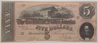 CSA Five Dollar Note, Variety T - 69. CONFEDERATE CURRENCY.