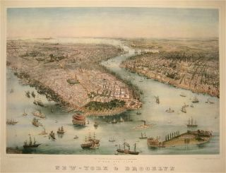 Birds' eye view of New-York & Brooklyn. John BACHMANN.