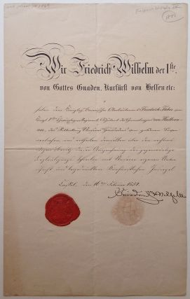 Document Signed in German. Friedrich WILHELM IV, 1795 - 1861