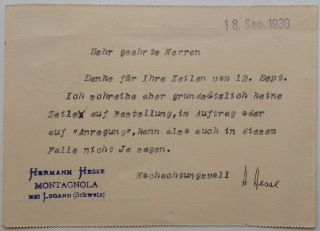 Typed Letter Signed in German on the back of a Postkarte. Hermann HESSE, 1877 - 1962.