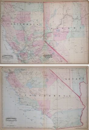 Asher and Adams' California & Nevada. North Portion. Asher and Adams' California & Nevada. South Portion. ASHER, ADAMS.