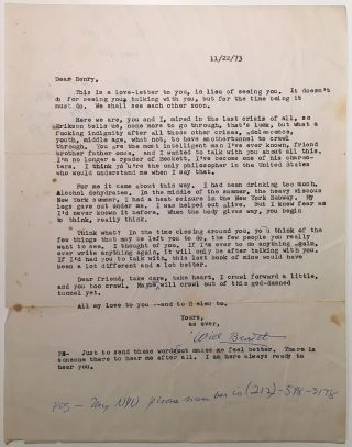 Typed Letter Signed to a fellow philosopher. William C. BARRETT, 1913 - 1992.