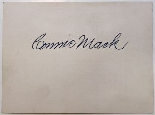 Signed Card. Connie MACK, 1862 - 1956.