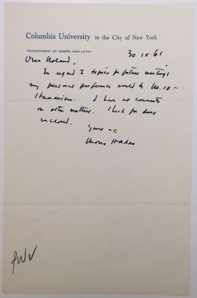 "Autographed Letter Signed on ""Columbia University"" stationery. Moses HADAS, 1900 - 1966"