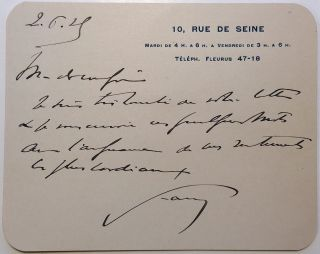 Scarce Autographed Letter Signed on personal card stationery. Jean-Louis FAURE, 1863 - 1944.