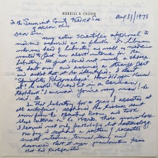 Lengthy Autographed Letter Signed to the Akron, Ohio Medical Society. Burrill B. CROHN, 1884 - 1983